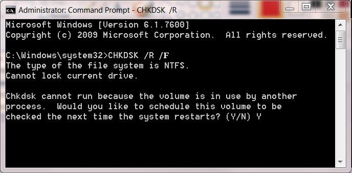 Using Chkdsk Command