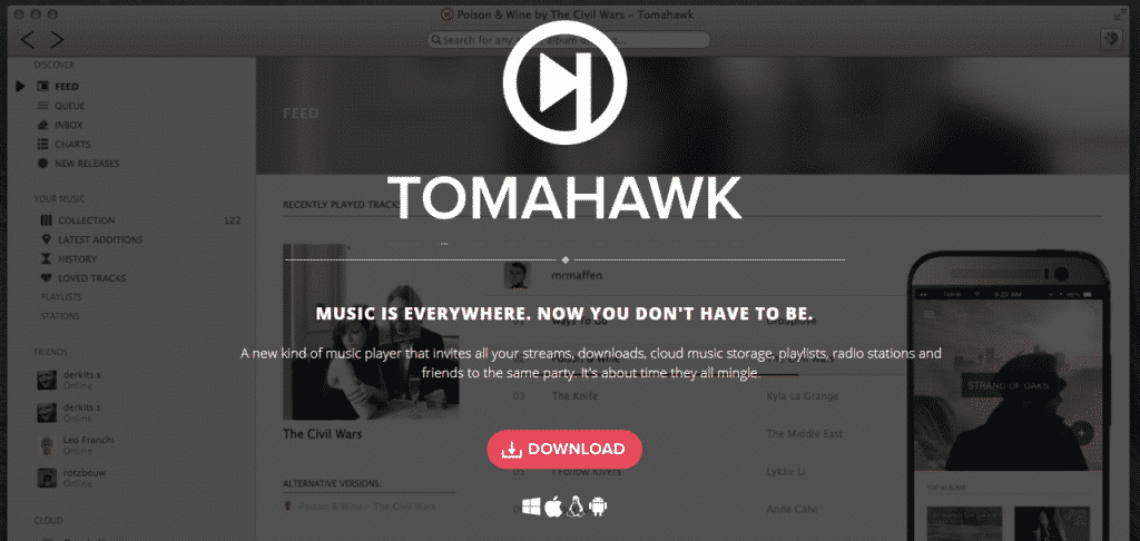 Tomahawk 1024x486 - Top 10 Best Music Players For MAC (2019 List)