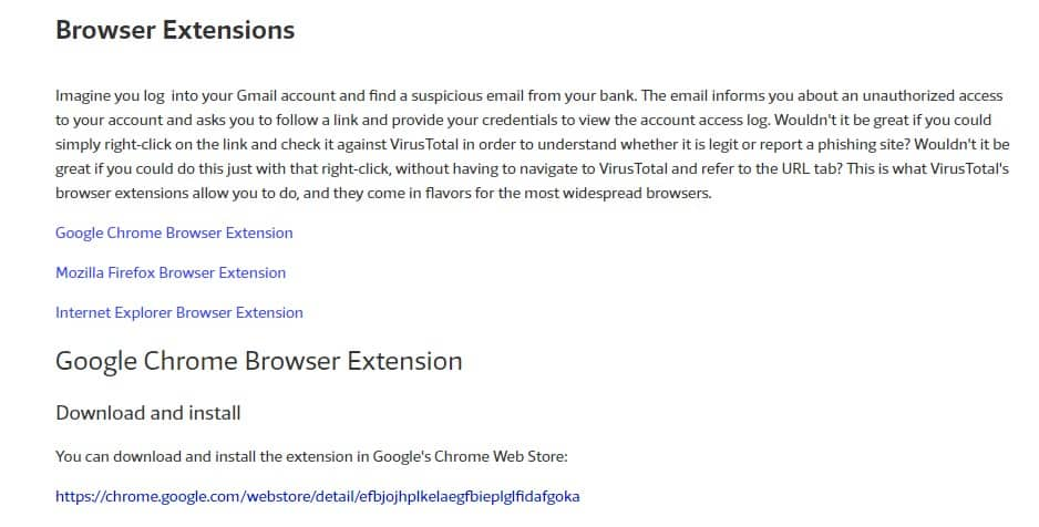Use VirusTotal On Your Browser
