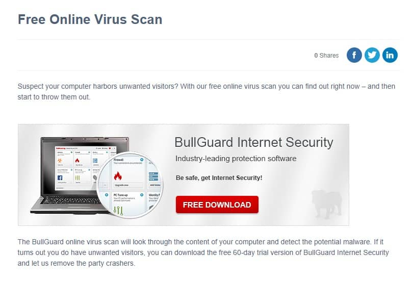 BullGuard Free Online Virus Scan