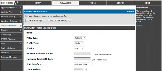 Click on 'Add' to create a new bandwidth limit