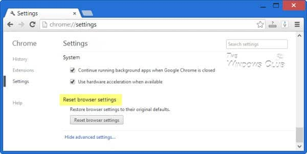 Reset Chrome Browser