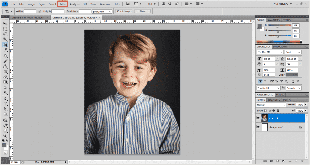 Step 2 Photoshop 1024x546 - How To Apply A Photo Filter In Adobe Photoshop