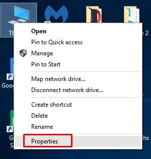 Right click on 'This PC' and select 'Properties'