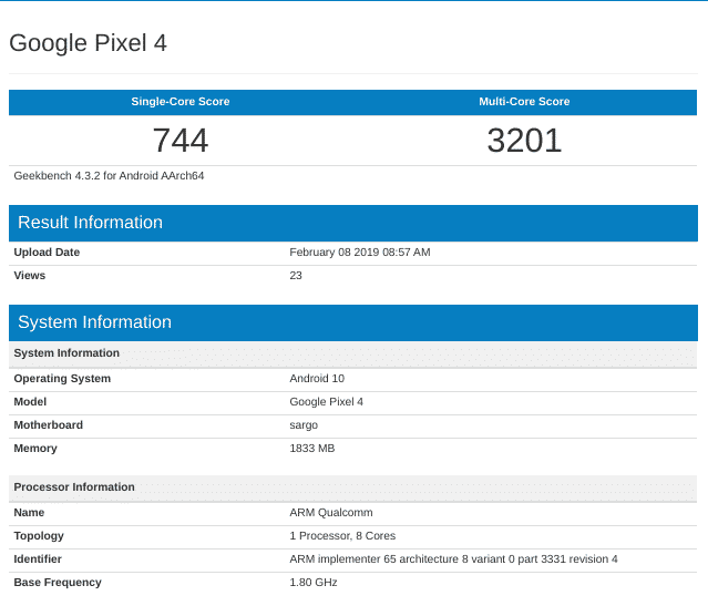 Google Pixel 4 - Google Pixel 4 'Sargo' Appears On Geekbench With Android 10.0