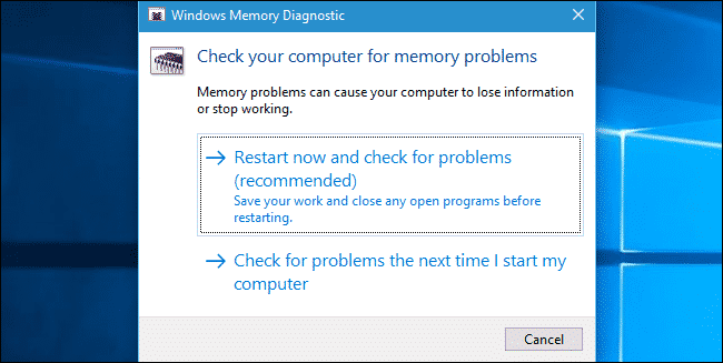 Use Memory Diagnostic