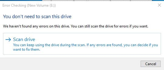 Click on the 'Scan drive'