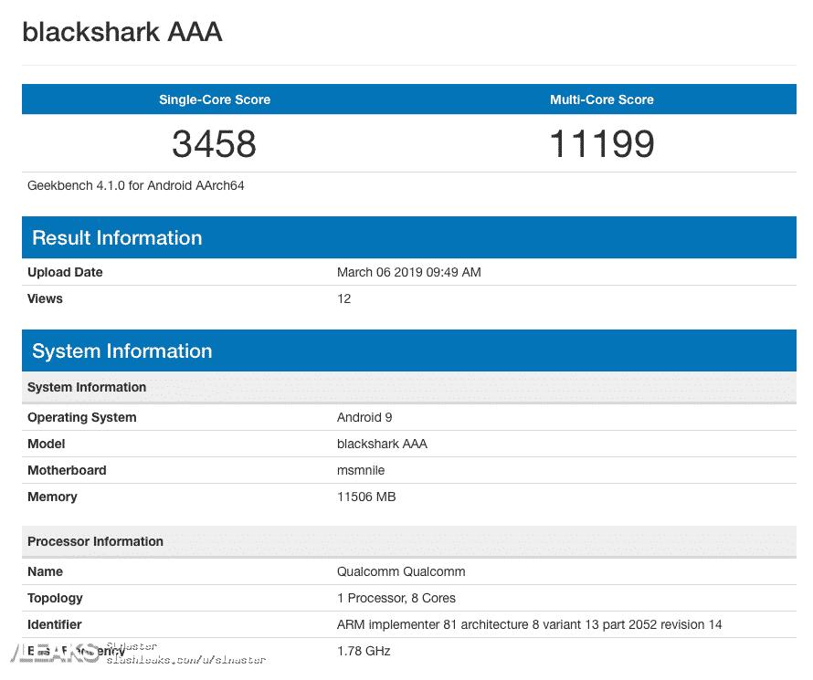 BlackShark 1 - Black Shark 2 With Snapdragon 855, 12GB RAM Spotted On Geekbench