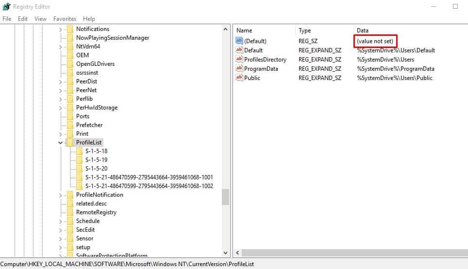 Delete The ProfileImagePatch Key