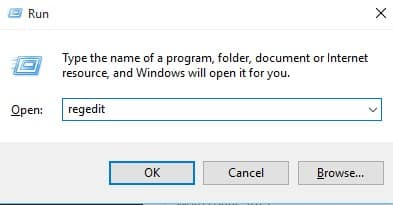 Enter 'regedit' on RUN Dialog box