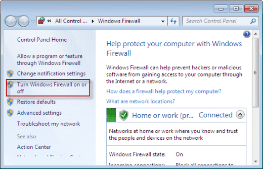 Select 'Turn Windows Defender Firewall on or off'