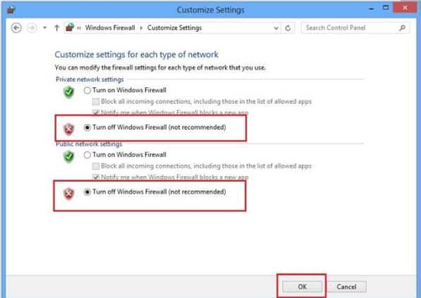 Select 'Turn off Windows Defender Firewall'