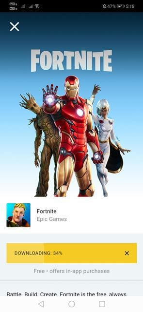 Wait until the Epic Games app downloads & installs the game
