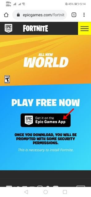 Tap on the 'Get it on the Epic Games App' button.