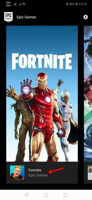 Tap on the 'Fortnite' game