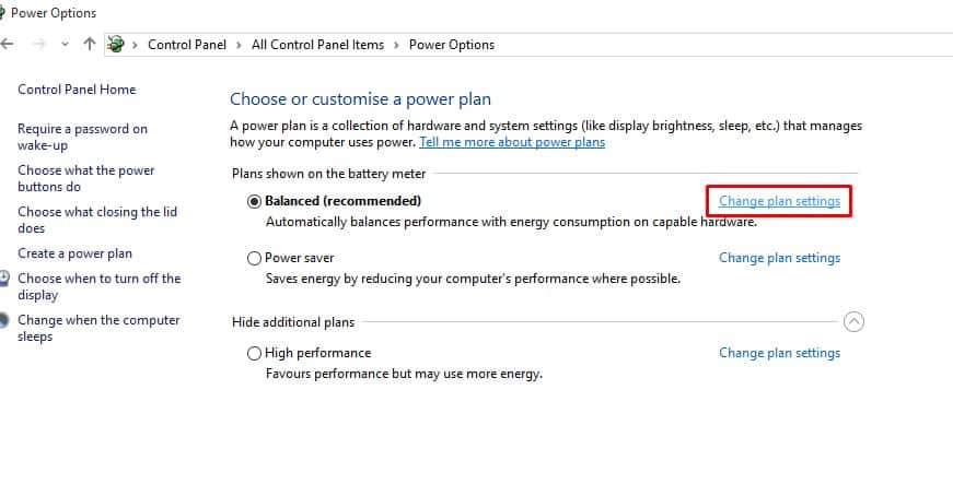 Click on the 'Change Plan Settings'