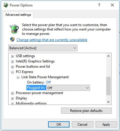 Turn off the Link State Power Management