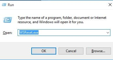 type in ''WSReset.exe'' and hit the 'Enter' button