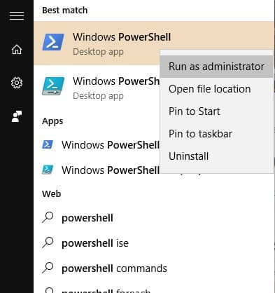 Open Powershell as an administrator