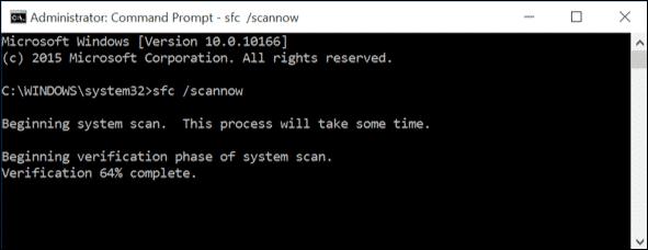 Enter 'sfc /scannow' command