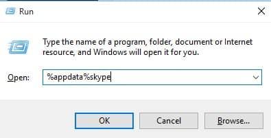 Type in '%appdata%skype' and hit Enter
