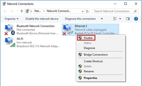 Disable Network Adapters