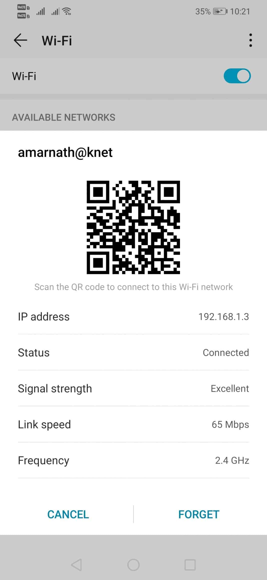 Forget and Reconnect to WiFi Network