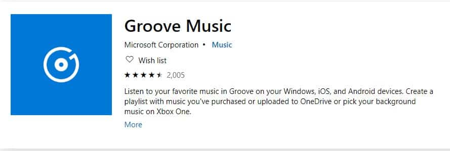 Groove music player