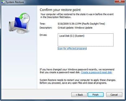 Using System Restore