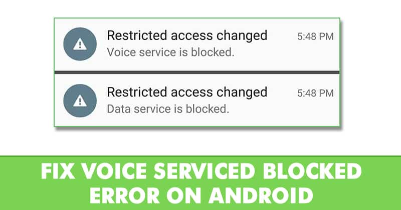 Voice blocked error message - Best Android Tricks 2019 & Android Hacks