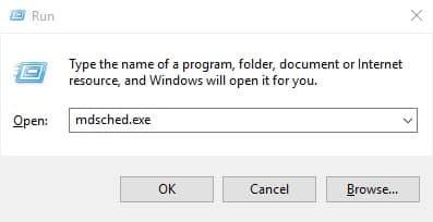"""Escriba """"mdsched.exe"""" en el cuadro de diálogo EJECUTAR"""
