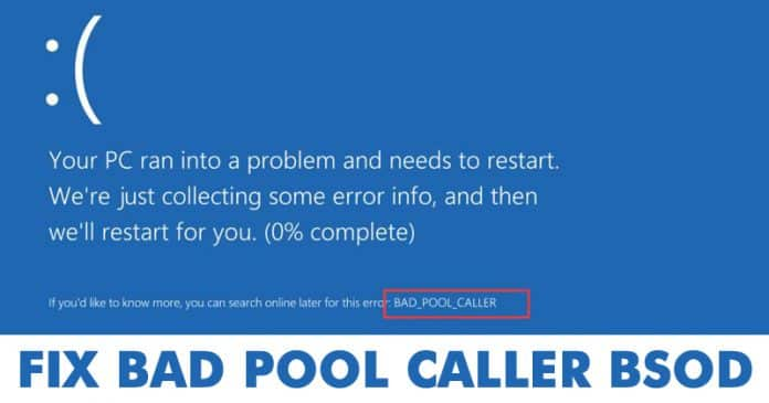 How To Fix BAD POOL CALLER Blue Screen Error Message 2019