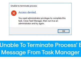 How To Fix 'Unable To Terminate Process' Error From Task Manager