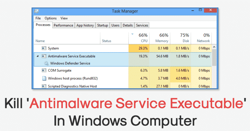 How To Kill Antimalware Service Executable In Windows 10