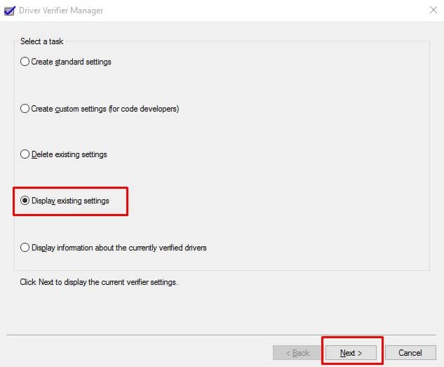 Select 'Delete Existing Settings'