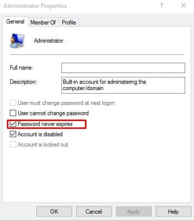 Set the Password to never expire