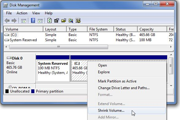 Right click on the USB drive and select 'Shrink Volume'