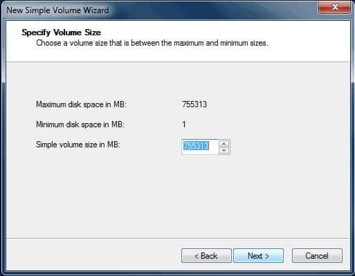 Specify the volume size and click on 'Next'