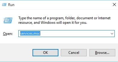 Open RUN Dialog box and type in 'services.msc' and hit enter