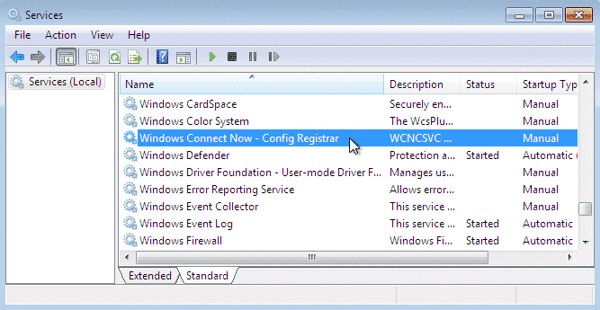 Select 'Disabled' from the right click menu