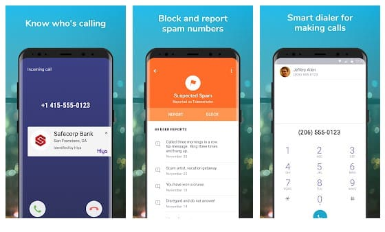 Hiya - Identification de l'appelant et blocage