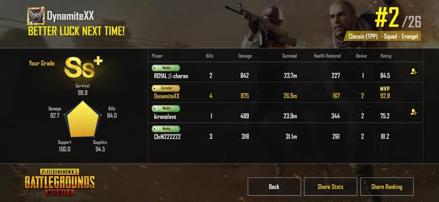 View Your Match Results & Statistics In PUBG Mobile