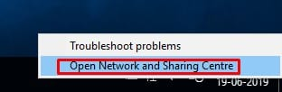 Click on 'Open Network and Sharing Center'