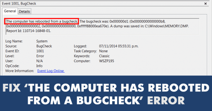 How To Fix 'The Computer Has Rebooted From a Bugcheck' Error