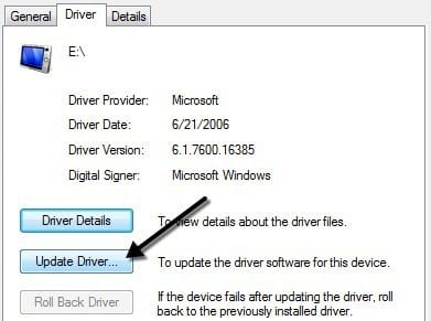 Select 'Update Driver'