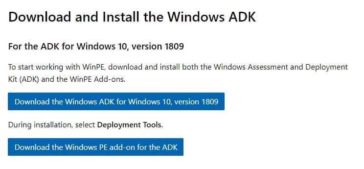 Download Windows 10 PE v1809 Online Installer