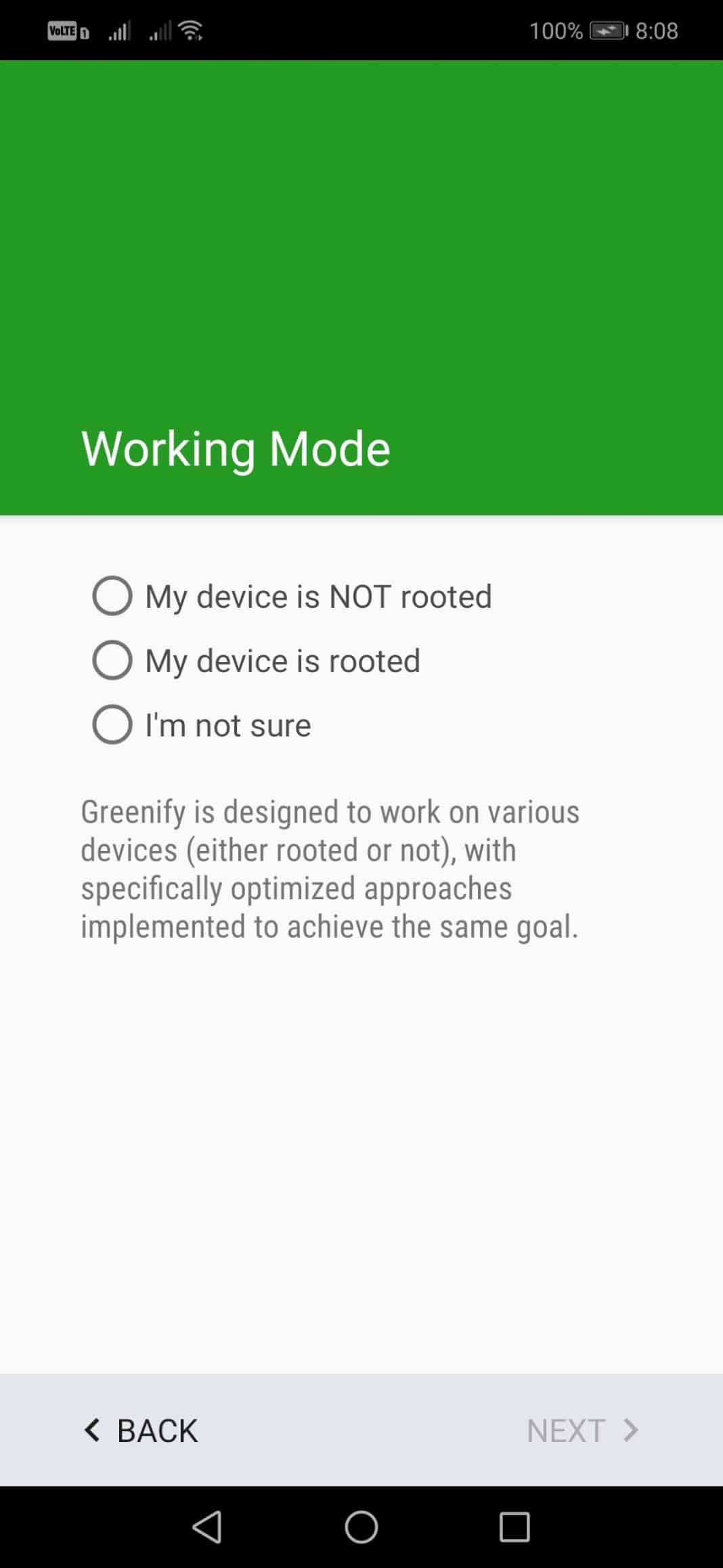 Select 'My device is NOT rooted'