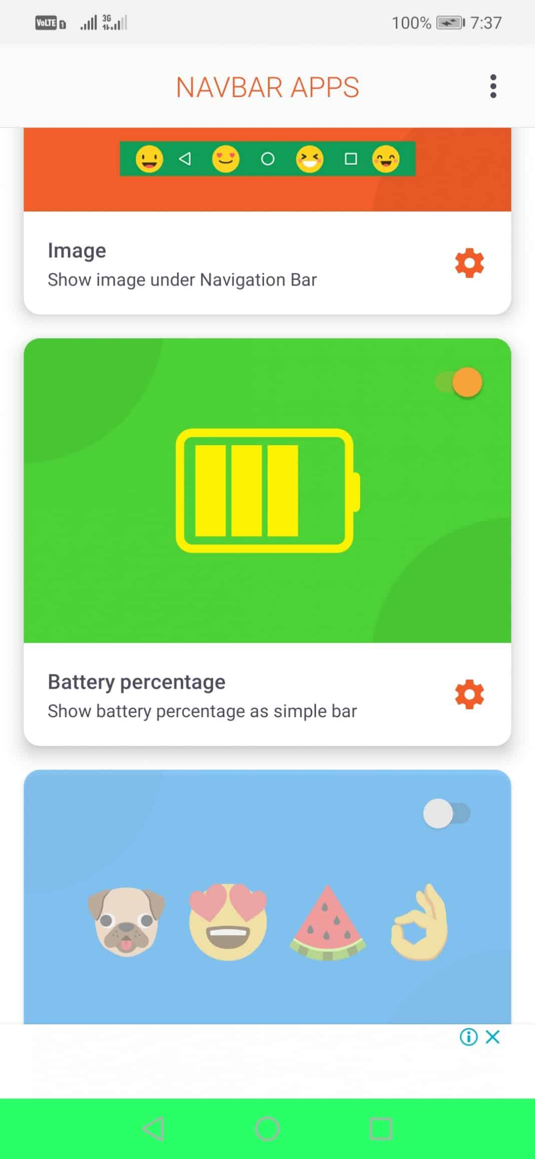 Select 'Battery percentage' to show in the navigation bar