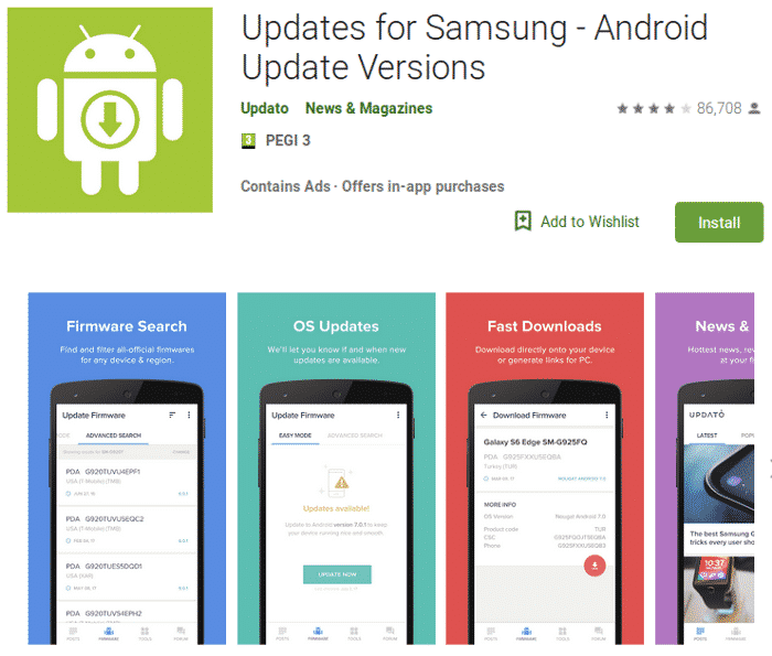 Fake 'Updates for Samsung' App