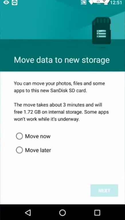 Select the option to move data to new storage